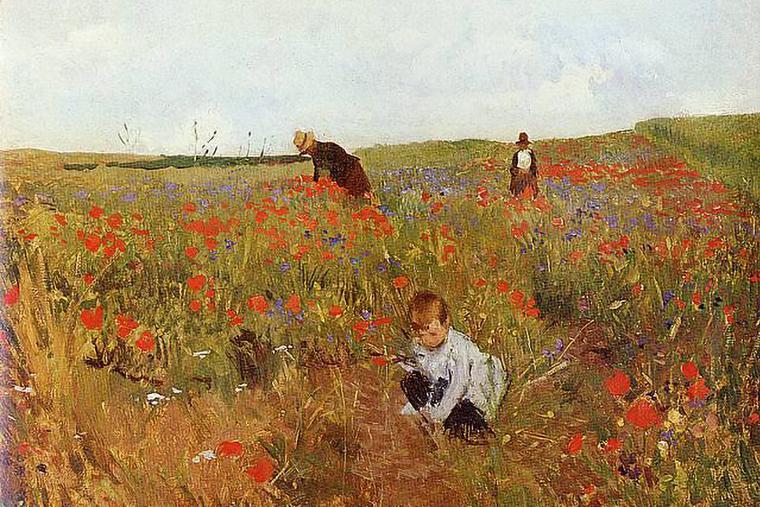 "Mary Cassatt, ""Picking Flowers in the Field,"" 1875"