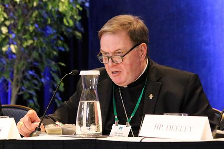 Cardinal Joseph Tobin of Newark answered questions during a press conference at the 2019 USCCB General Assembly on Thursday afternoon, June 13, 2019.