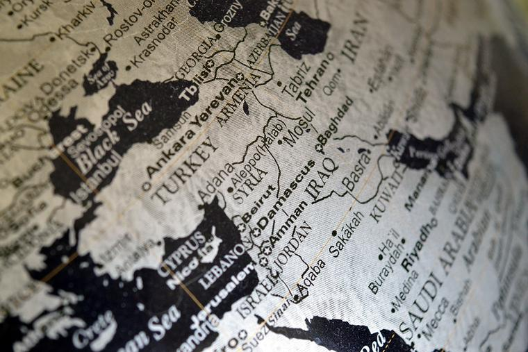 Map of the Middle East, centered on Iraq