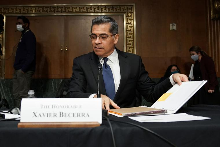 Xavier Becerra, nominee for Secretary of Health and Human Services, is seen at the start of a break at his Senate Finance Committee nomination hearing on February 24, 2021 at Capitol Hill in Washington, DC.