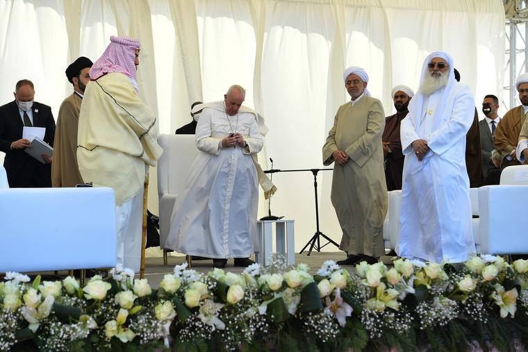 Pope Francis attends an interreligious meeting in the Plain of Ur, Iraq, March 6, 2021.