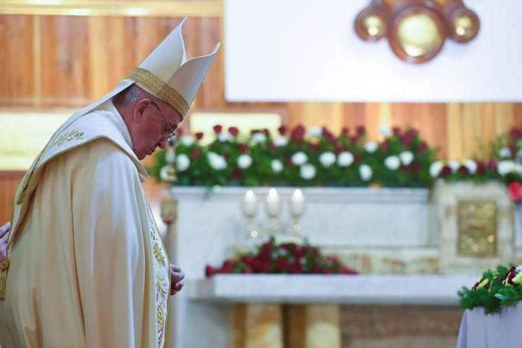 Pope Francis says Mass at the Chaldean Catholic Cathedral of St. Joseph in Baghdad March 6, 2021.