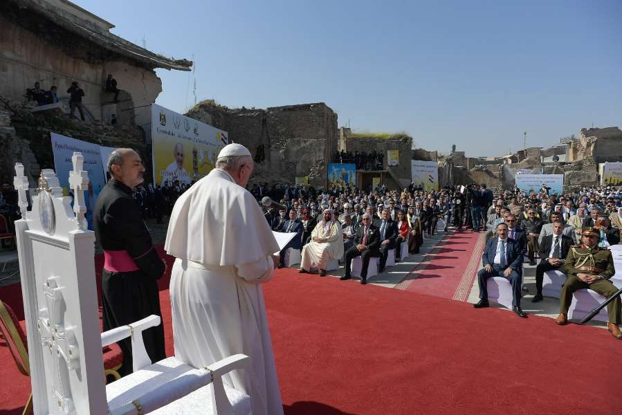 Pope Francis prays for the victims of war in Mosul, Iraq, March 7, 2021.