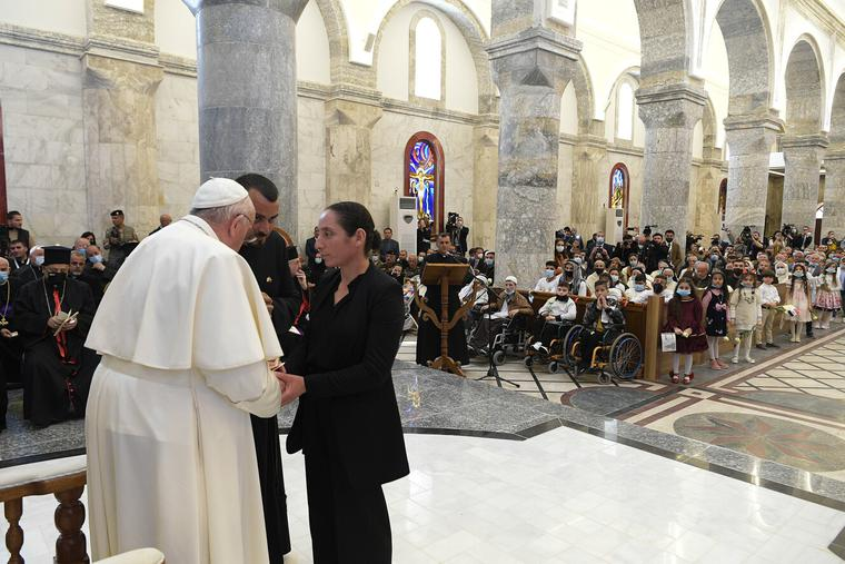 Pope Francis visits the Syriac Catholic Church of the Immaculate Conception in Qaraqosh on March 7th, 2021.