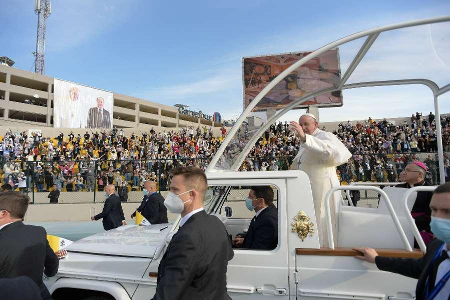 Pope Francis celebrates Mass in the Franso Hariri Stadium in Erbil, Iraq, March 7.