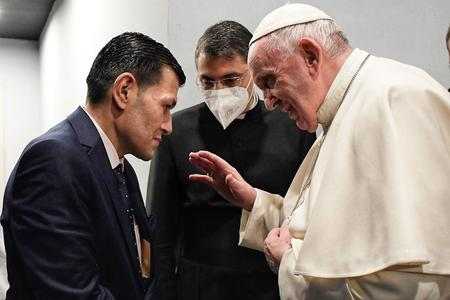 Pope Francis meets the father of drowned boy Alan Kurdi in Erbil, Iraq, March 7, 2021
