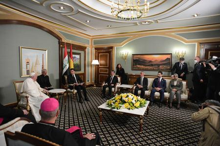 Pope Francis met with the President of the Autonomous Region of Iraqi Kurdistan and with the Prime Minister at the Erbil Airport on March 7th, 2021.
