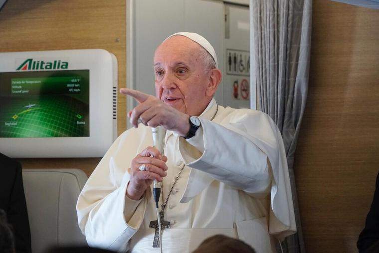Pope Francis holds an in-flight press conference en route to Rome from Iraq