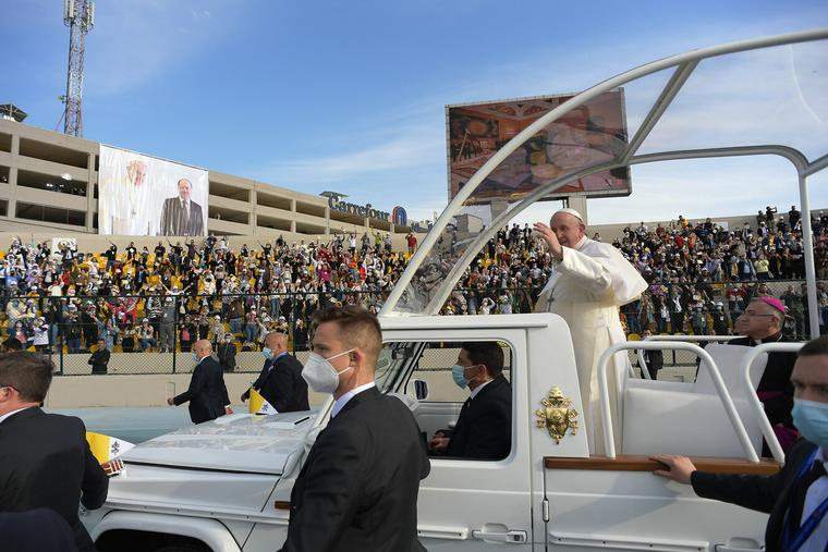 Pope Francis celebrates Holy Mass at the Franso Hariri Stadium in Erbil on March 7th, 2021.