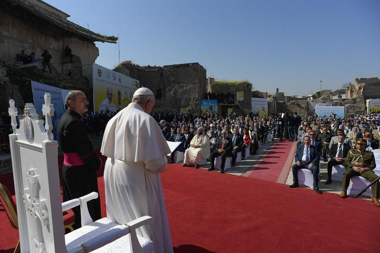 Pope Francis shares a prayer of suffrage for the victims of war at Hosh al-Bieaa (Church square) in Mosul on March 7th, 2021.