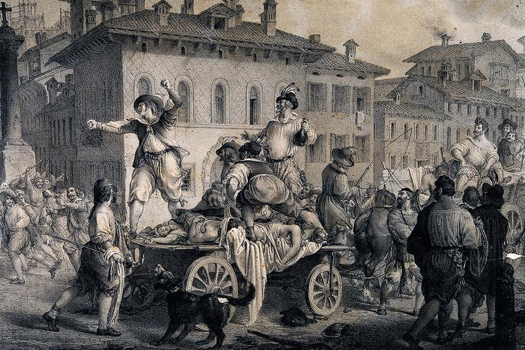 Accusing the anointers in the great plague of Milan in 1630; a scene from Manzoni's 'I promessi sposi.' Lithograph by G. Gallina after A. Manzoni.