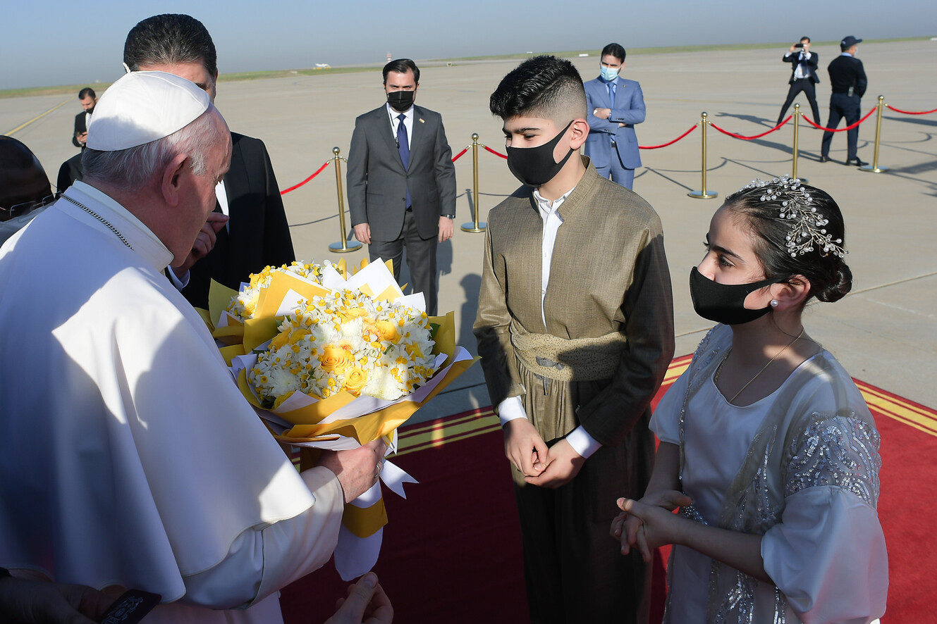 Pope Francis arrrives at Erbil Airport, Iraq, March 7, 2021.