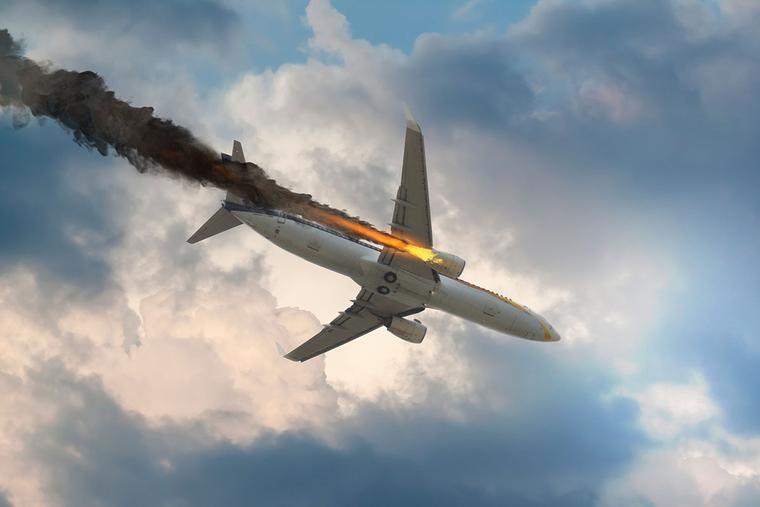 Airplane engine fire 3D illustration