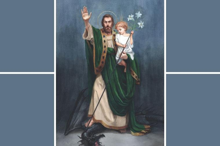 This painting by artist Bernadette Carstensen was commissioned by Father Donald Calloway because 'Terror of Demons' is his favorite title for St. Joseph. The image can be found in his book, 'Consecration to St. Joseph: The Wonders of Our Spiritual Father,' and is available at Father Calloway's website, ConsecrationtoStJoseph.org.