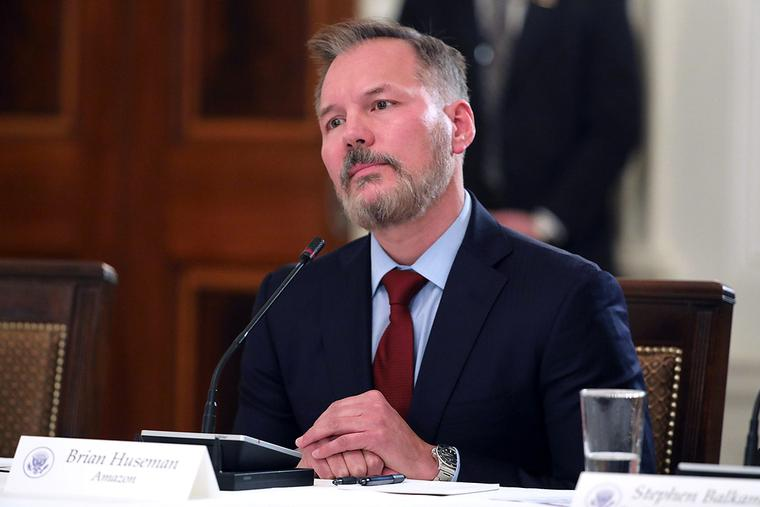 Amazon vice president for public policy Brian Huseman participates in a roundtable discussion on cyber safety and technology hosted by U.S. first lady Melania Trump at the White House on March 20, 2018, in Washington, DC.