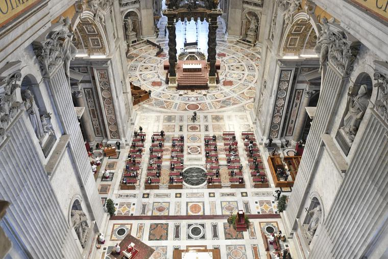 Pope Francis celebrates Mass for the Solemnity of Pentecost at the Altar of the Chair inside St. Peter's Basilica, on May 31, 2020.