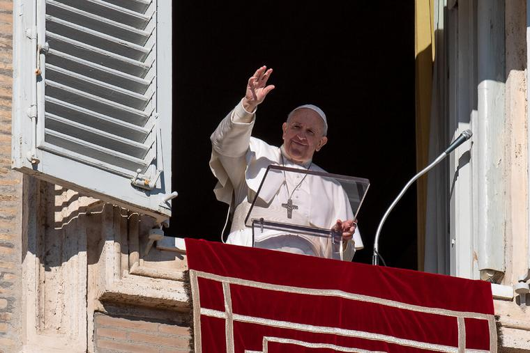 Pope Francis prayed the Sunday Angelus and spoke from the window of the Apostolic Palace overlooking St. Peter's Square on Dec. 13, 2020.