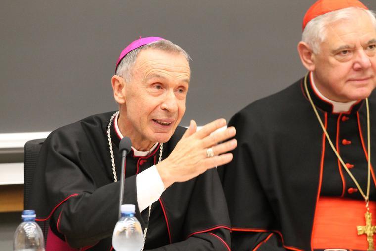 Archbishop Luis Ladaria SJ at a book presentation at the Pontifical Gregorian University in Rome alongside Cardinal Gerhard Mueller, Nov. 27, 2014.