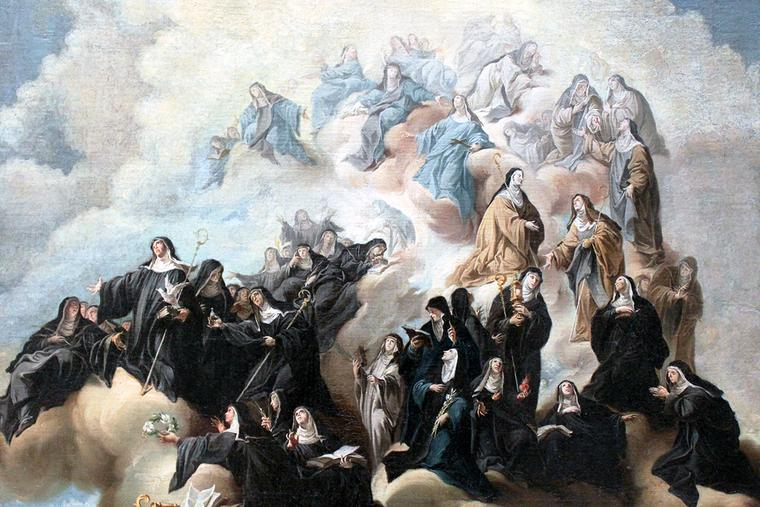 """Johann Jakob Zeiller, """"Saint Scholastica with Nuns of the Benedictine Order and its Affiliations,"""" 1748"""