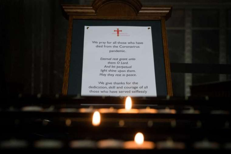 A prayer for COVID-19 victims at Westminster Cathedral in London, England, pictured July 3, 2020.
