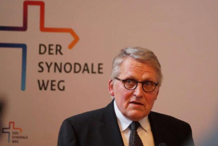 Thomas Sternberg, president of the Central Committee of German Catholics (ZdK), speaks at a 'Synodal Way' press conference.
