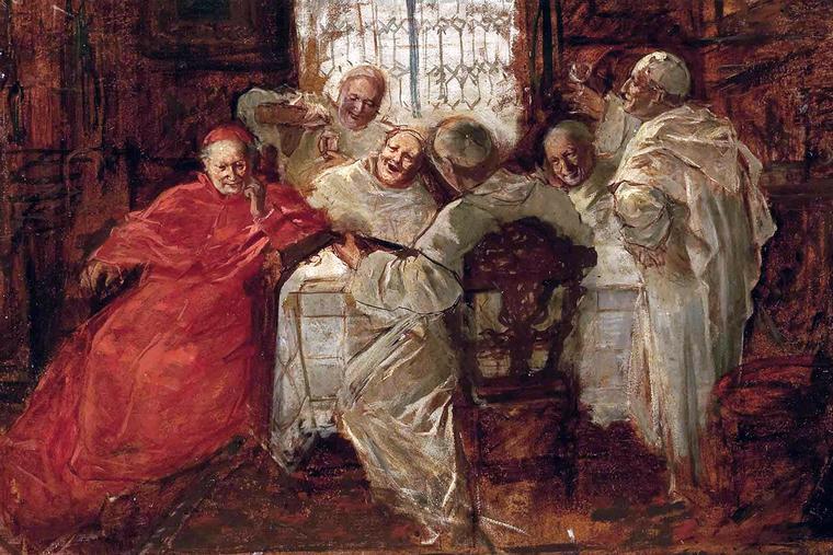 "School of Eduard von Grützner, ""A Cardinal Drinking with White Fathers,"" 19th century"