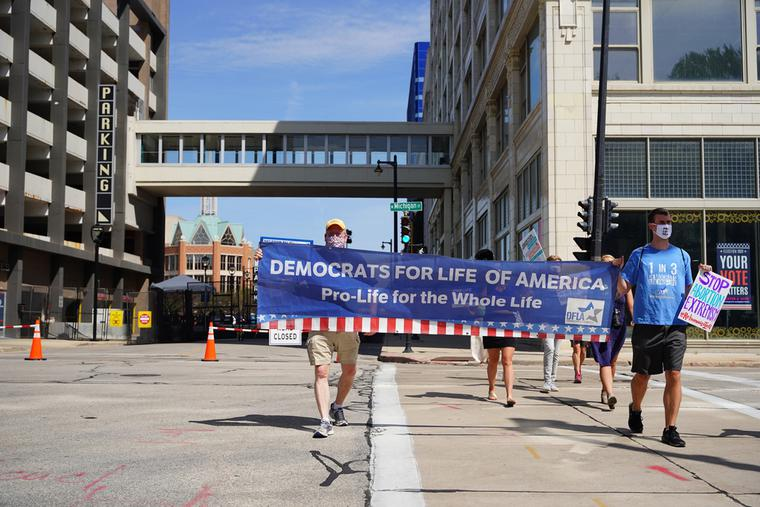 Pro-life Democrats march outside the Democratic National Convention in Milwaukee Aug. 17, 2020.