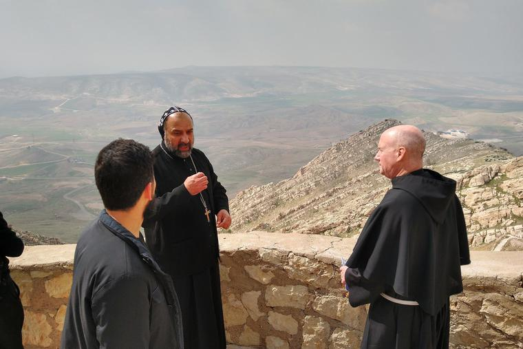 Franciscan University president Franciscan Father Dave Pivonka (r) visits the Mar Mattai Monastery, which dates back to the fourth century. The Monastery of St. Matthew is atop Mount Alfaf in northern Iraq.
