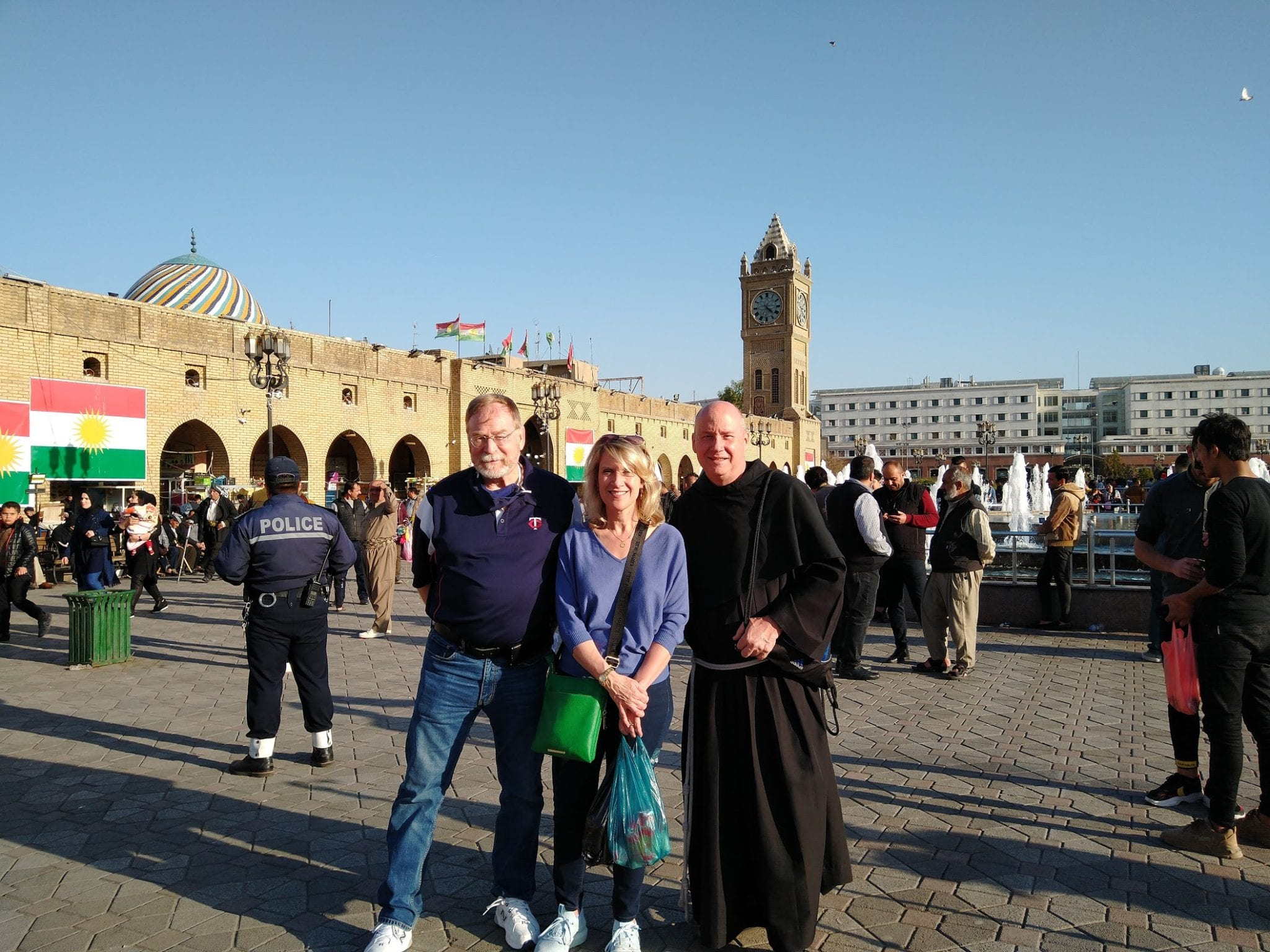Dr. Daniel Kempton, vice president for Academic Affairs at Franciscan University, Dr. Tiffany Boury, director of Franciscan's Master of Catholic Leadership Program, and Fr. Dave Pivonka, TOR, president of Franciscan University, visit the Citadel in the historic city center of Erbil, Iraq.