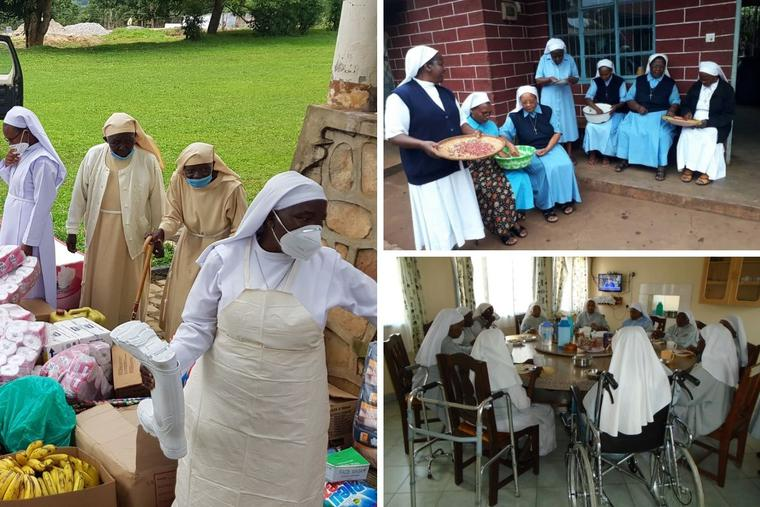Clockwise from left: Sisters sort through the arrival donations by the Conrad N. Hilton Foundation through ACWECA to help fight COVID- 19 challenges at the care home of the Little Sisters of St. Francis in Nkokonjeru in Jinja, Uganda. Some of the elderly and sick sisters of the Missionary Congregation of the Evangelizing Sisters of Mary keep busy at their care home in Kilacha in Moshi, Tanzania. Sister of Mary Immaculate of Nyeri eat together in Mwea.