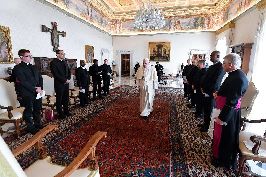 Pope Francis meets members of the Belgian Pontifical College in Rome March 18, 2021.