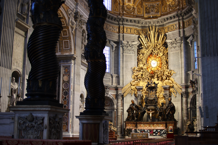 Empty side altar inside St. Peter's Basilica March 22 as a new directive suppressing individual Masses goes into effect.