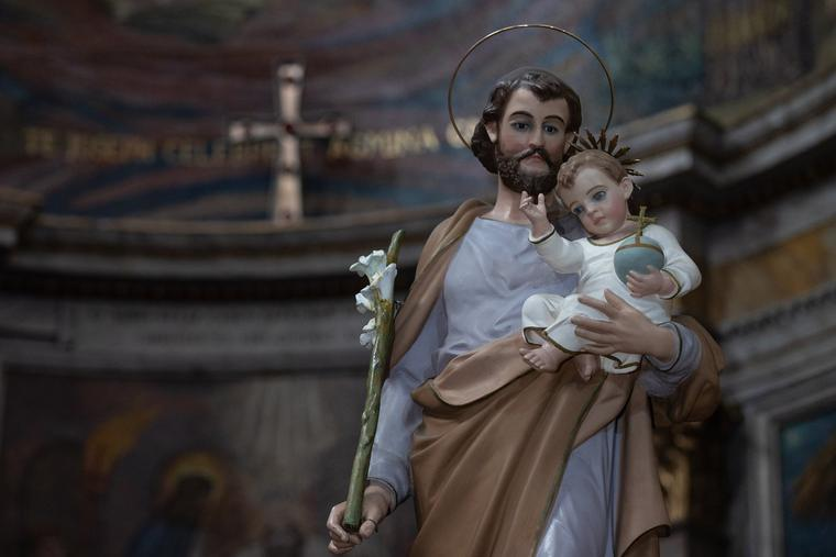 A statue of St. Joseph and Baby Jesus is seen in the Basilica di San Giuseppe al Trionfale in Rome on March 18.