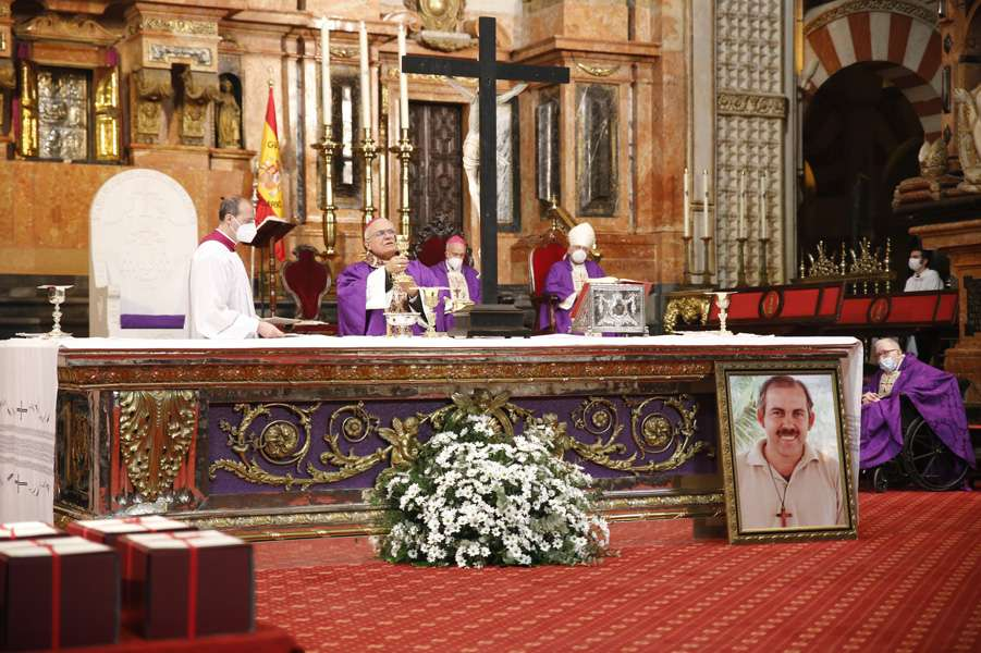 Bishop Demetrio Fernández of Córdoba says Mass to mark the close of the diocesan phase of the beatification cause of Pedro Manuel Salado in Córdoba, Spain, March 20, 2021.