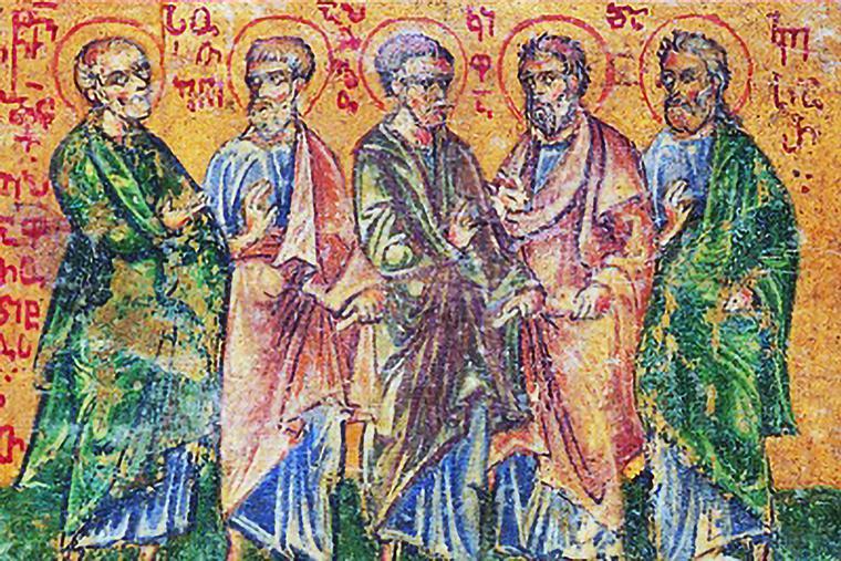 15th-century icon of Sts. Epaphroditus, Sosthenes, Apollos, Cephas and Caesar