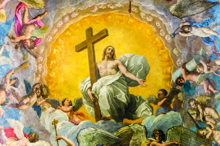 The glory of the Resurrection is seen in this painting of the Risen Jesus Christ holding the cross in the cathedral in Ravenna, Italy.