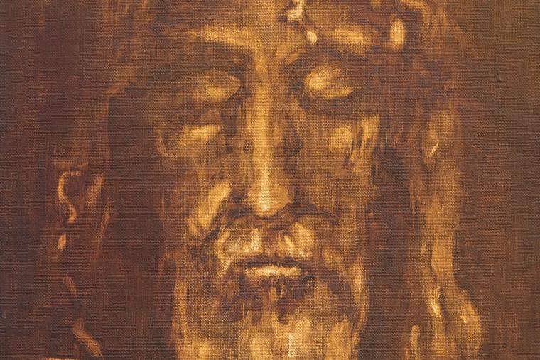 This painting by an unknown artist of the 20th century shows the suffering face from the Shroud of Turin, which is housed in the Chiesa di San Giuseppe in Turin, Italy.