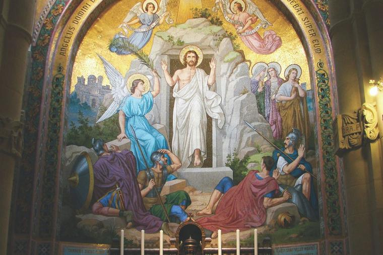 The Resurrection is depicted in a 19th-century mosaic at the Rosary Basilica in Lourdes, France.