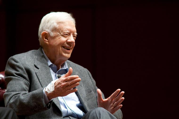 President Jimmy Carter speaks onstage at Emory University November 10, 2008 in Atlanta, Ga.