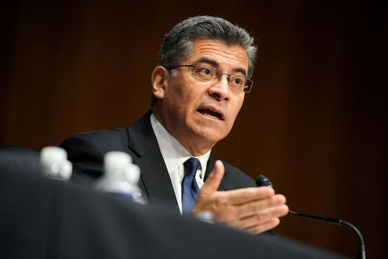Xavier Becerra, nominee for Secretary of Health and Human Services, answers questions during his Senate Finance Committee nomination hearing on February 24, 2021 at Capitol Hill in Washington, DC.