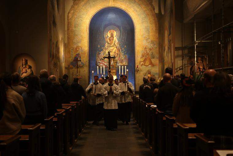 Mass is held at Christ the King Church in Gothenburg, Sweden.