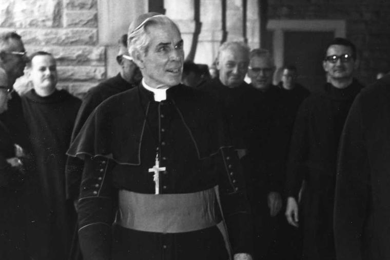 Archbishop Fulton J. Sheen visits Subiaco Abbey in Arkansas at an unknown date