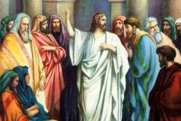 Christ teaching at the temple.