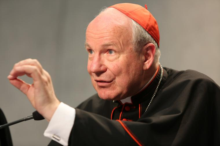 """Cardinal Christoph Schomborn, archbishop of Vienna and the president of the Austrian Bishops' Conference, at a press conference on Pope Francis' post-synodal apostolic exhortation """"Amoris Laetitia"""" (the Joy of Love) at the Holy See Press Office in Vatican City on April 8, 2016."""