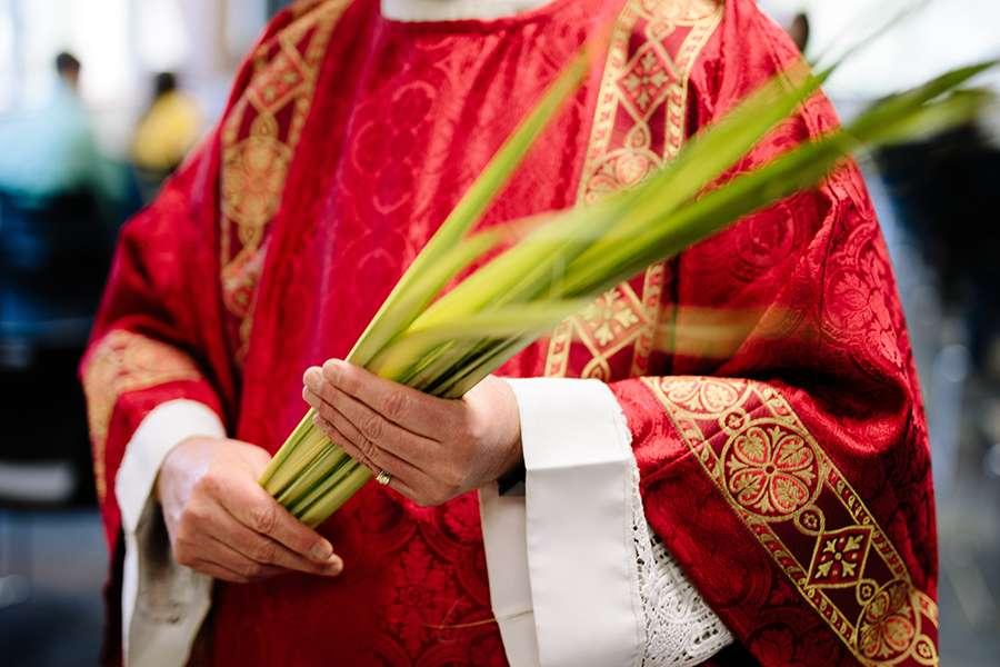 A priest holds palms on Palm Sunday.