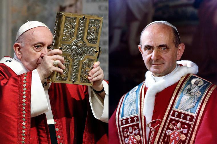 LEFT: Pope Francis celebrates Mass for Pentecost on May 31, 2020, at St Peter's Basilica at the Vatican. RIGHT: Official portrait of Pope St. Paul VI, author of the encyclical 'Humanae Vitae.'