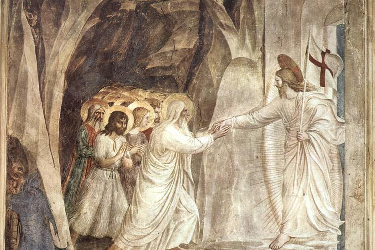 Before his resurrection from the dead, Jesus Christ grants salvation to souls by the Harrowing of Hell.