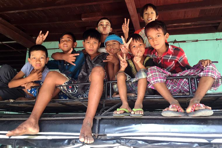 """A group of young """"e'er-do-wells"""" from Burma"""