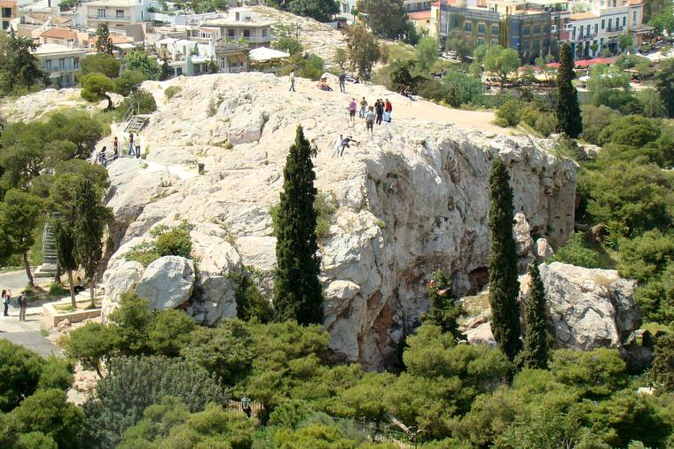 "The Areopagus (Mars Hill) in Athens, Greece, is the site of St. Paul's famous sermon where he proclaimed, ""The God who made the world and everything in it is the Lord of heaven and earth and does not live in temples built by hands."""