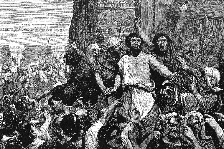 """Give Us Barabbas"" — an illustration from ""The Bible and its Story Taught by One Thousand Picture Lessons,"" edited by Charles F. Horne and Julius A. Bewer, published in 1910."